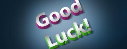 Napis Good Luck! Good w kolorze fioletowym, Luck zielonym