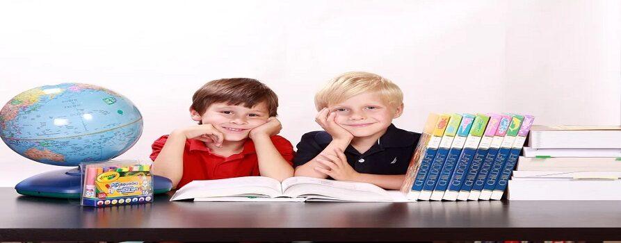 Zdjęcie dwóch chłopców w wieku szkolnym, siedzących przy biurku. Po lewej stronie globus, po prawej rząd książek, ułożonych pionowo i poziomo